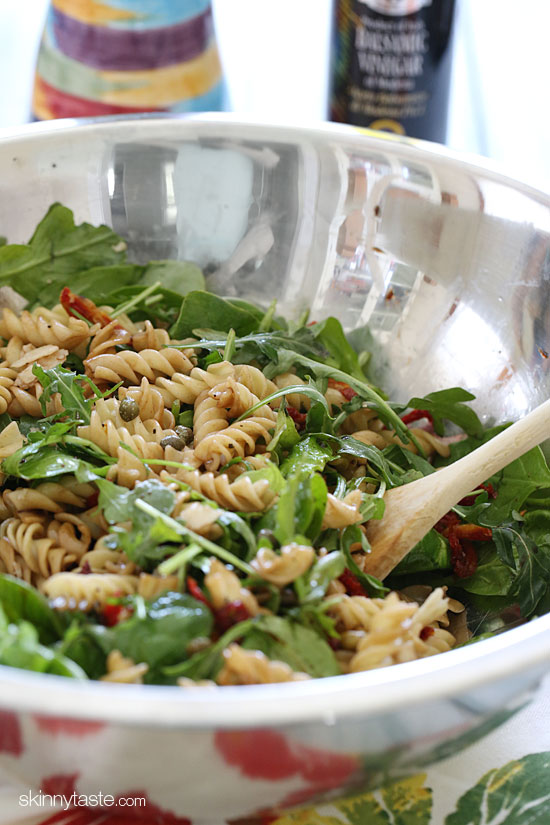 Mayo less Pasta Salad with Baby Greens Summer Pasta Salad with Baby Greens