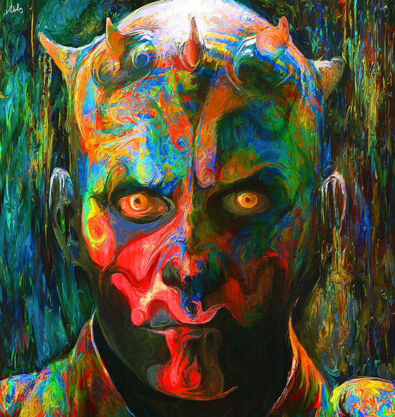 04-Darth-Maul-Sith-Lord-Star-Wars-Nicky-Barkla-Psychedelic-Celebrity-Portrait-Paintings-www-designstack-co