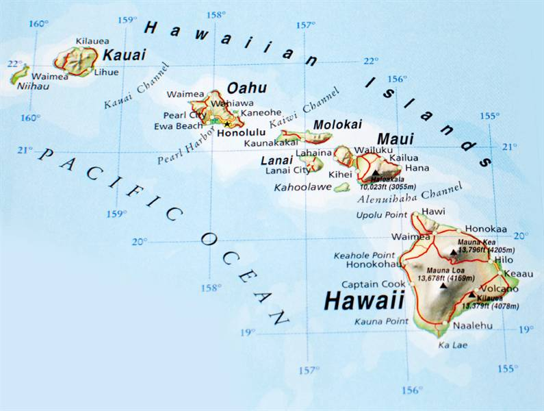 Dashing image throughout printable map of hawaii