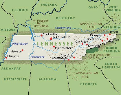 State of Tennessee printable US state maps/