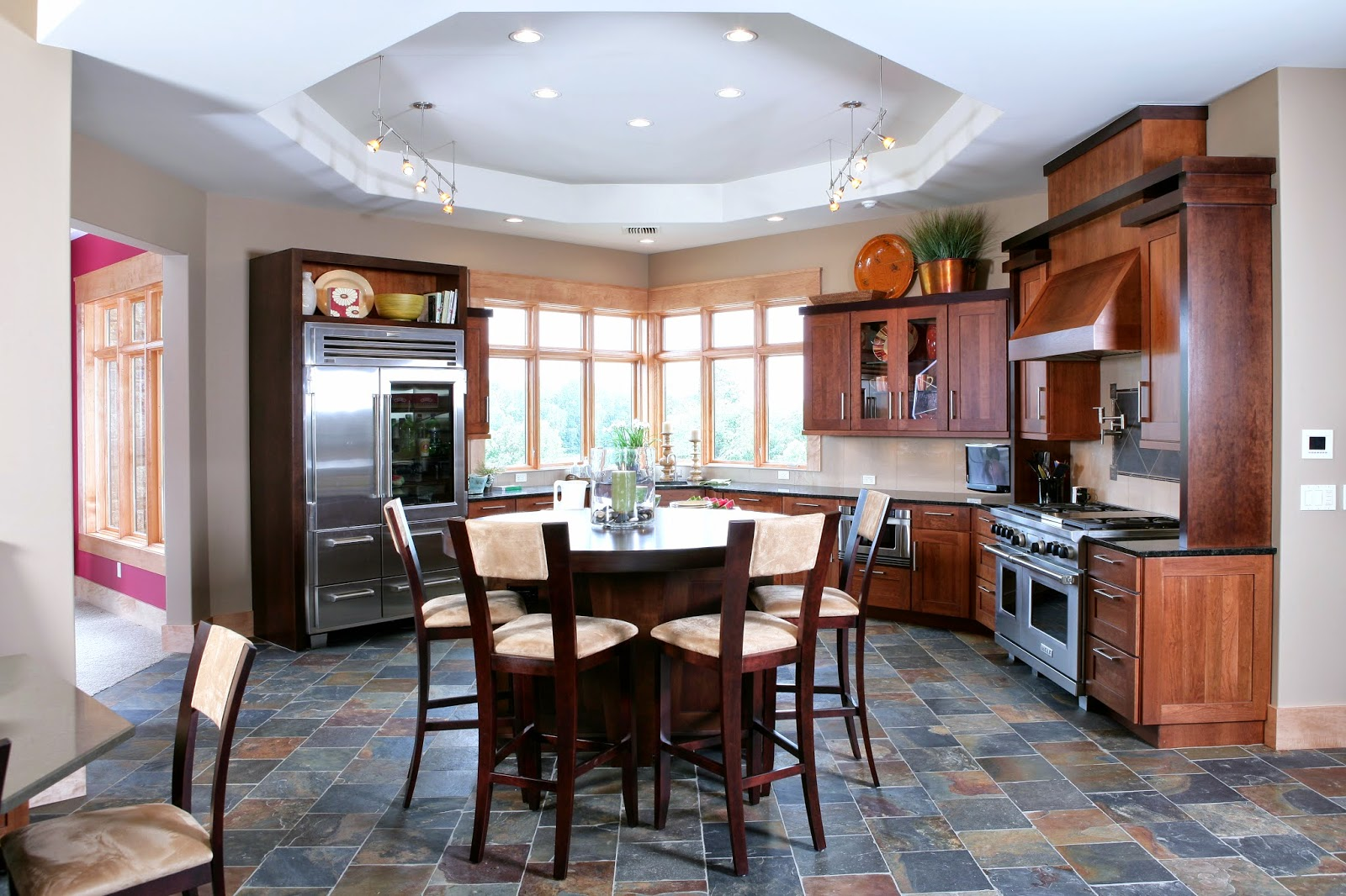 Kitchen coffered ceiling kitchen traditional with kitchen for Half island kitchen