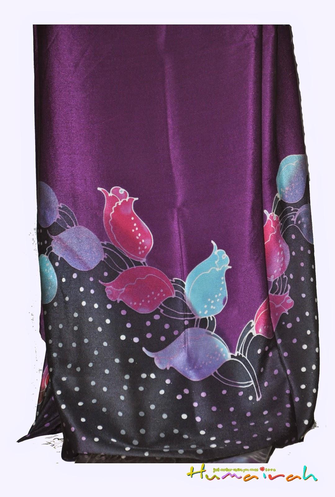 CX87 Batik Sutera Exclusive - Bunga Mawar Purple dan Hitam 3