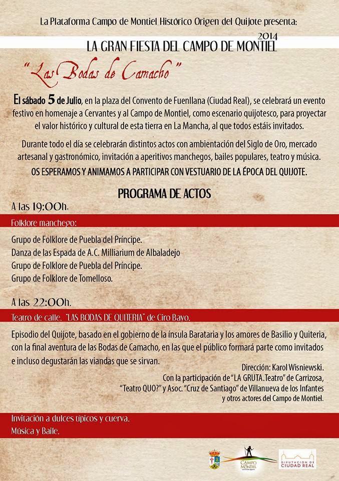 Programa Bodas de Quiteria 2014, Don Quijote de la Mancha, Sancho Panza, Campo de Montiel, España