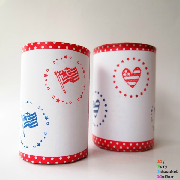 Easy to make tin can candle holders for outdoor summer get togethers!