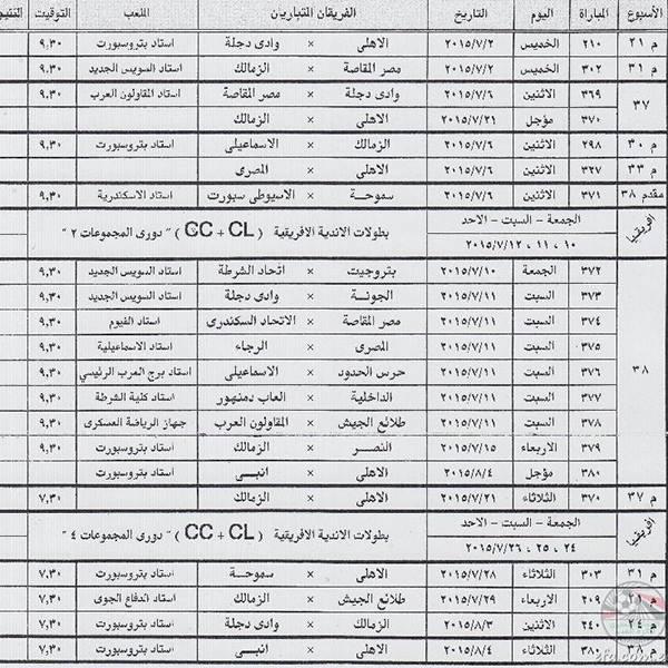صور بمواعيد المباريات المتبقية من مسابقة الدوري المصري