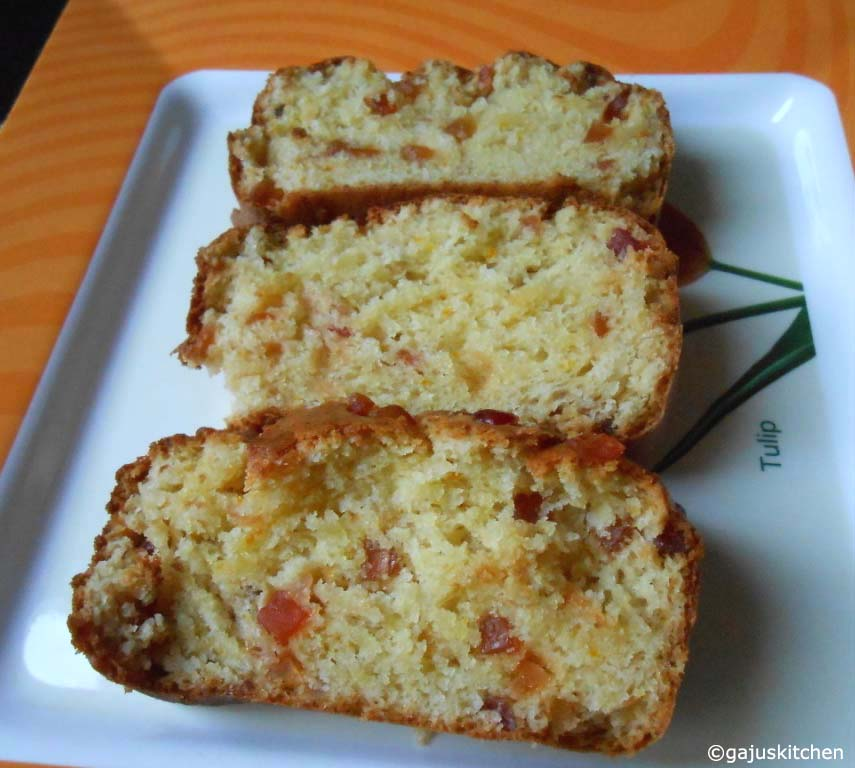 Orange tutti frutti loaf cake