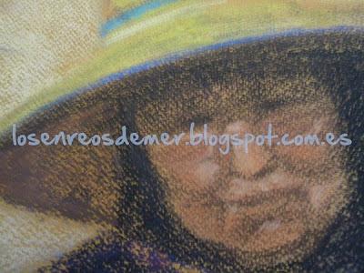 Detalle de Al sol - Pastel sobre papel