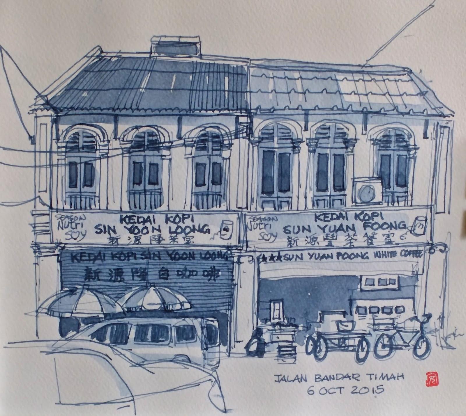 Urban Sketchers Singapore My Sketching Trip To Ipoh Kuala Kopi Keong Mas Posted By Francis Theo