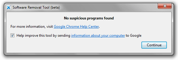 software removal tool, fix Google chrome problems