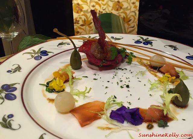 Tuna tartar layered, crispy salami, gari shoga, frisee, glazed teriyaki, Italian & Japanese culinary affair, Vila Danieli, Sheraton Imperial KL, Frescobaldi wine, Japanese Sake, Chef Kamaruddin,