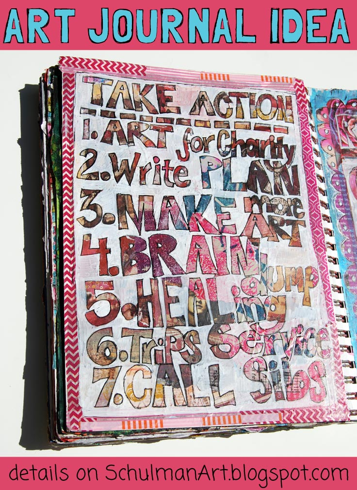 art journal ideas | discover art journal prompts like these on http://schulmanart.blogspot.com/2015/07/art-journal-idea-take-action.html