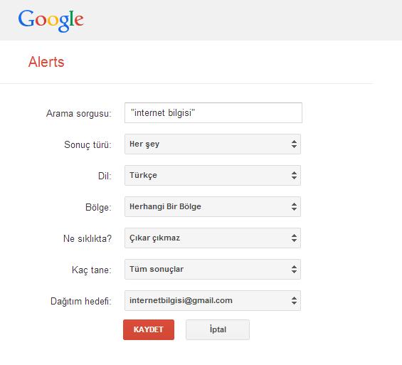 Google Alert Oluşturma