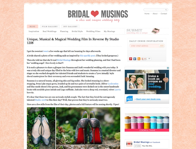 STUDIO 1208 featured on Bridal Musings