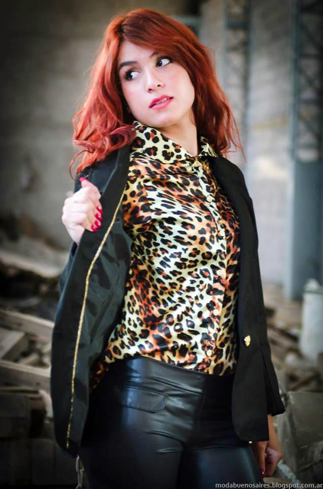 Cintia Vergara colección invierno 2014, blusas, sacos sastres, leggings-Moda invierno 2014.