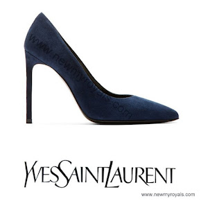 Crown Princess Victoria Style Yves Saint Laurent Suede navy Pumps