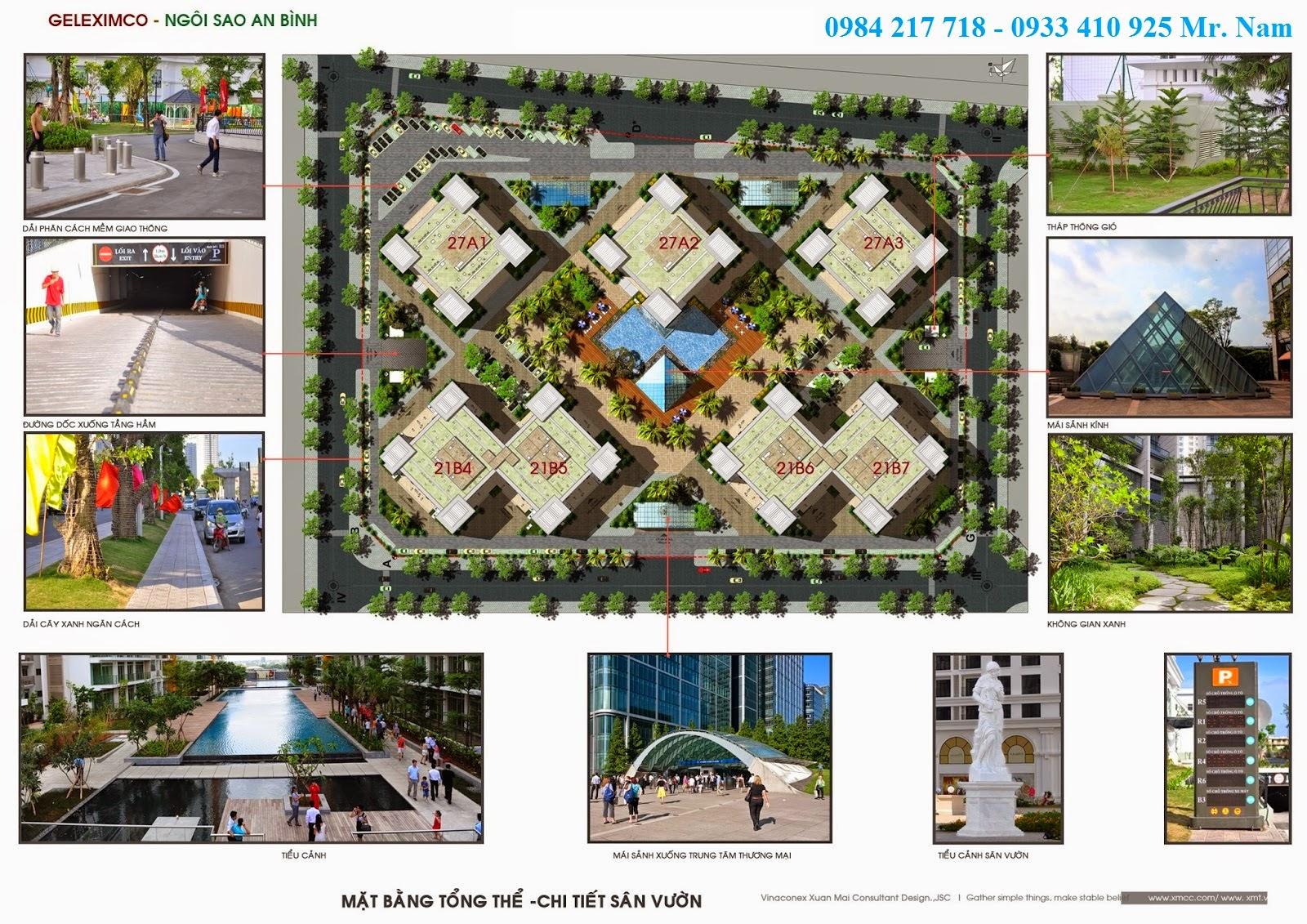 Mặt bằng tổng thể dự án chung cư Green Stars gồm 7 toà nhà cao từ 21 đến 27 tầng