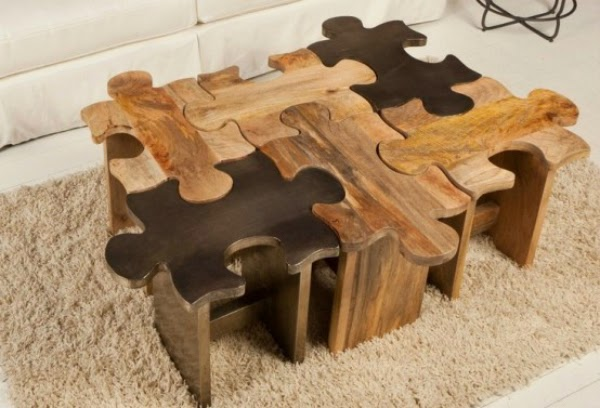 Another creative wooden table which has six pieces of puzzles. Each piece  is a stool or individual small chair when separated. [Link]