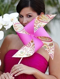 pink bridesmaid pinwheel bouquet