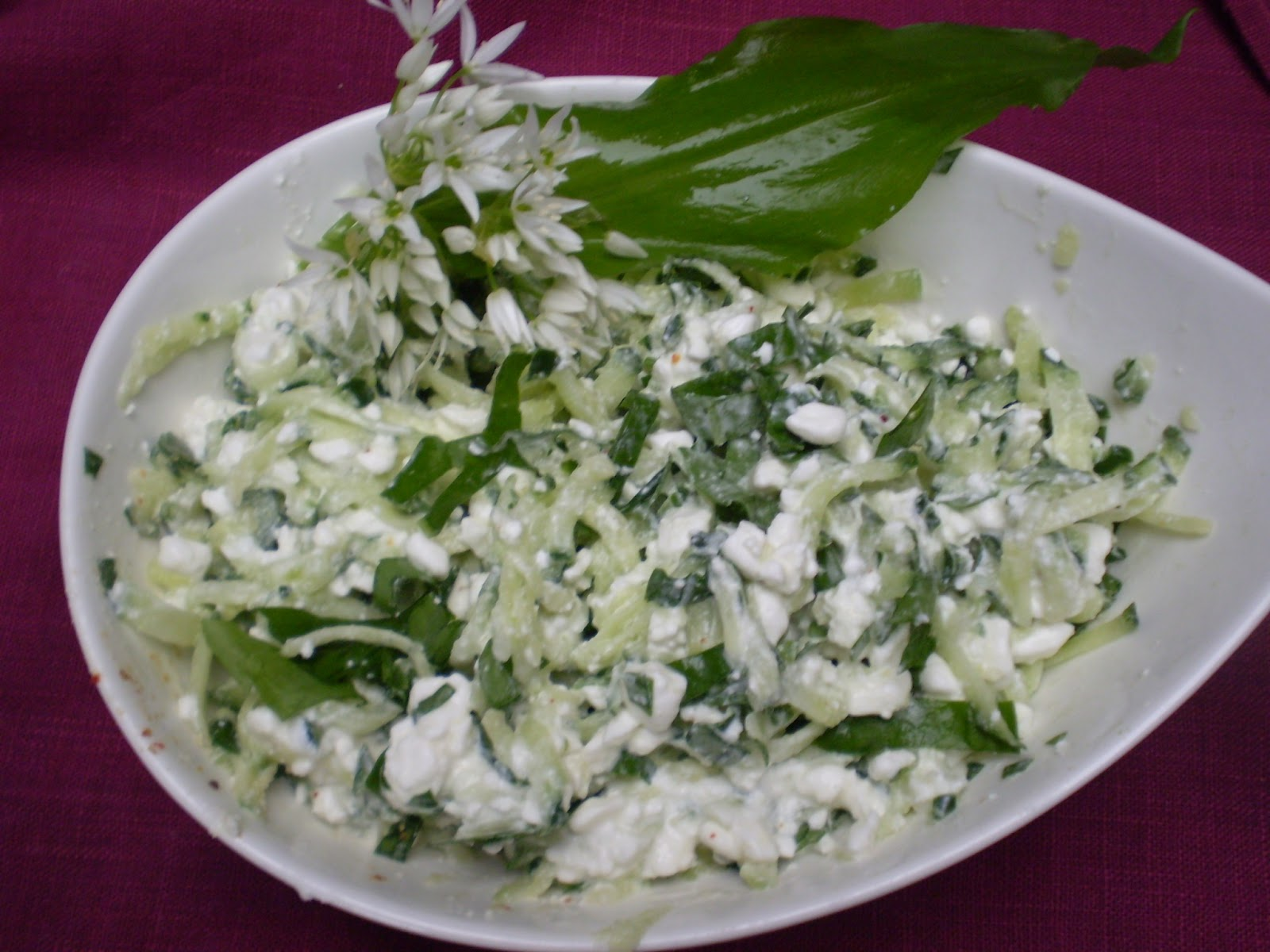 Salade de concombre au cottage cheese et ail des ours