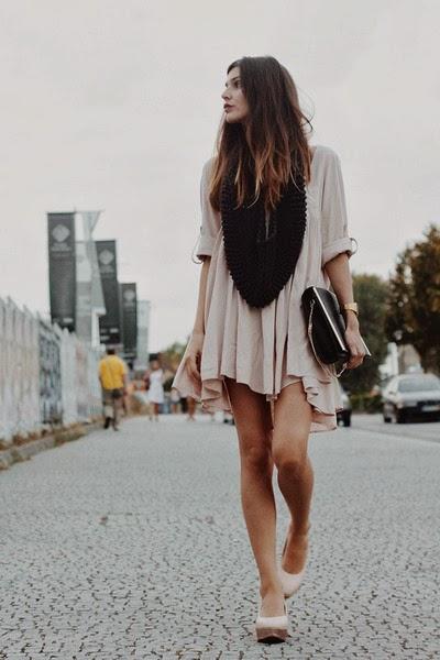 Black blouse with dress and handbag