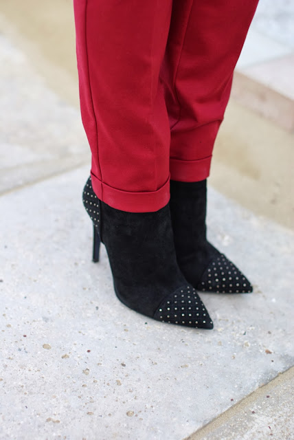 Loriblu suede ankle boots, black studded heels, Fashion and Cookies, fashion blogger