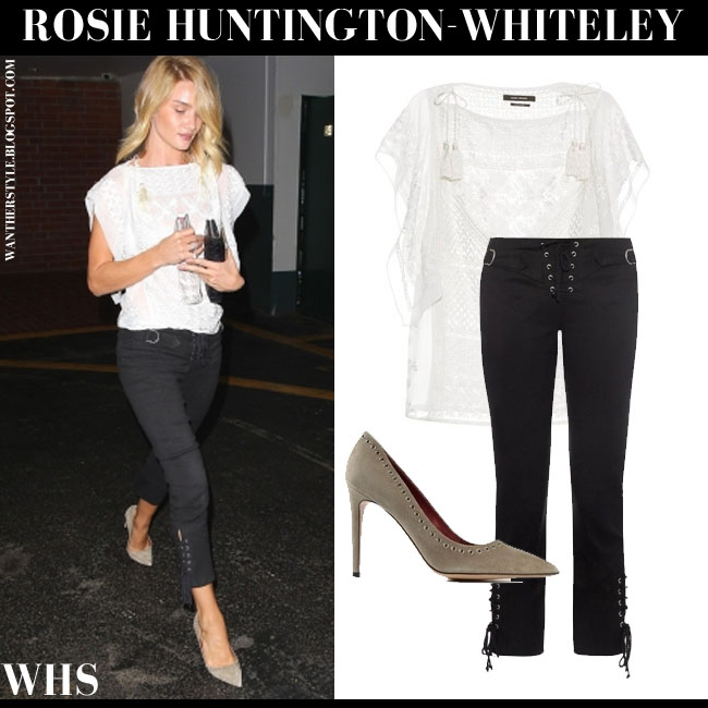 Rosie Huntington-Whiteley in white romantic embroidered Isabel Marant Allen top, black Isabel Marant Nubia pants and suede pumps isabel marant laurie what she wore june 11