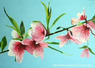 Flores en primavera. Pintura acrílica sobre lienzo