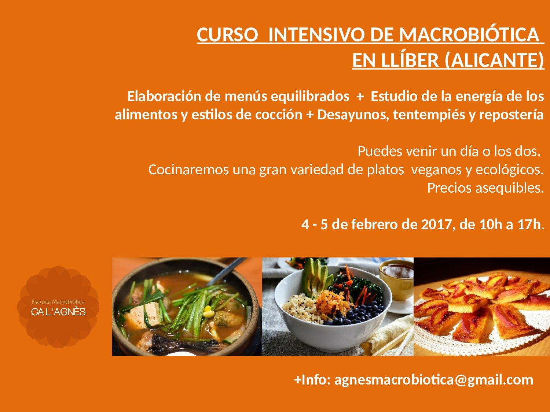 CURSO INTRODUCCIÓN A LA MACROBIÓTICA EN LLÍBER (Alicante)
