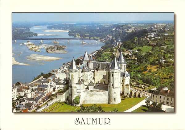 aerial view of Saumur castle and the river Loire