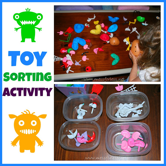 Toy Sorting Activity - Kids can learn all about sorting (and cleaning) using their toys.