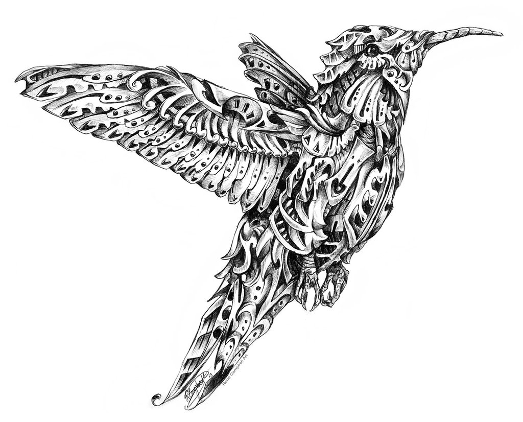 09-Hummingbird-René-Campbell-Art-in-Animal-Doodle-Drawings-www-designstack-co