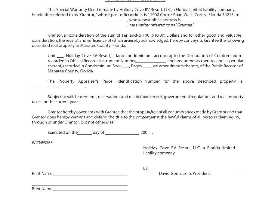 Warranty Deed  Special Warranty Deed Florida