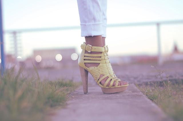 yellow aldo heels