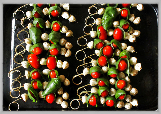 Caprese salad on a stick, msmarmitelover's supper club