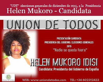 Helen Mukoro runs for the Spanish Presidency.