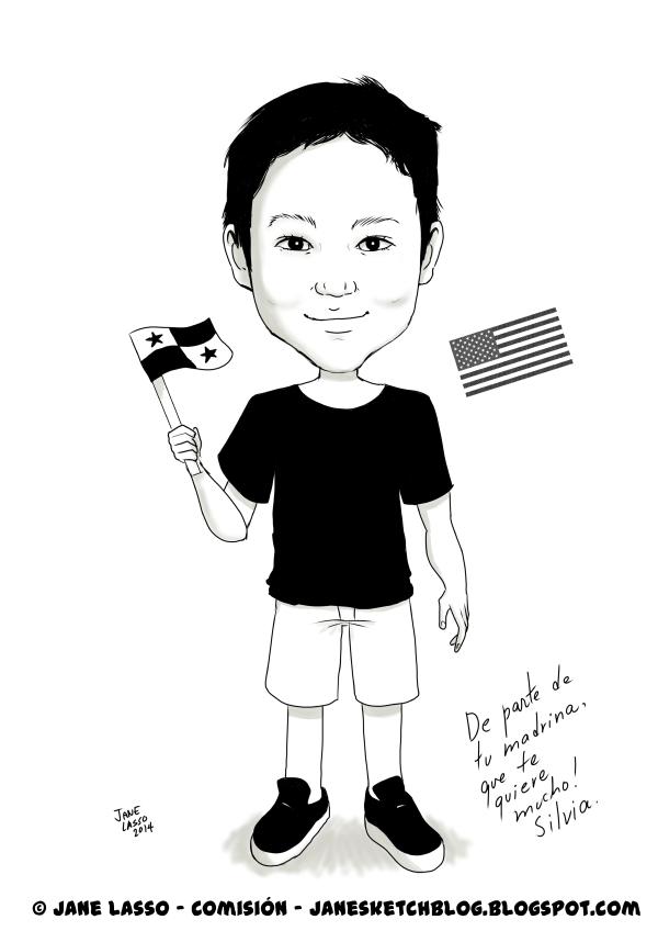 Caricatura en blanco y negro , de un niño
