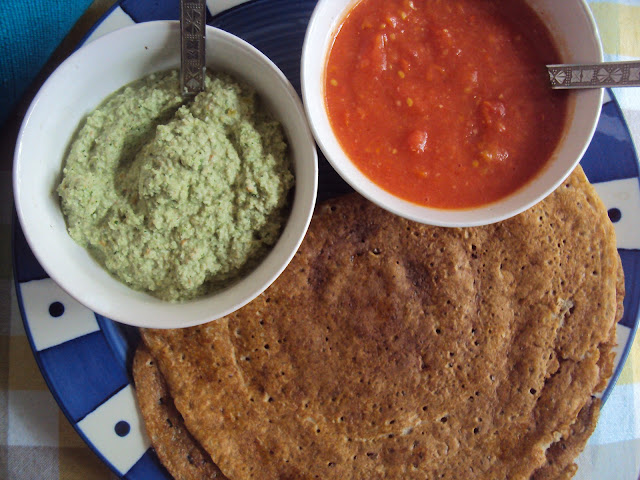 amla peanuts chutney and multigrain dosa