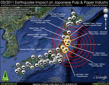 2011 Japan Earthquake Impact on Japanese Pulp and Paper Industry Preliminary Assessment Map / Mapa preliminar de Impacto del Terremoto de Japon 2011 en la industria de pulpa celulosica y de papel del Japon / パルプ紙2011年の日本地震の影響の予備的な地図セルロース日本 / เยื่อแผ่นดินไหวญี่ปุ่นและแผนที่อุตสาหกรรมกระดาษ / Япония 2011 целлюлозно землетрясения и карта бумажной промышленности / اليابان اللب والورق زلزال 2011 خريطة صناعة / Mapa Preliminar de Impacto do Terramoto de Japão  2011, na industria do papel e celulose do Japão / Gustavo Iglesias Trabado, GIT Forestry Consulting SL, Consultoria y Servicios de Ingenieria Agroforestal, Lugo, Galicia, España, Spain / Eucalyptologics, Information resources on sustainable eucalypt cultivation worldwide / Recursos de informacion sobre el cultivo sostenible del eucalipto en el mundo
