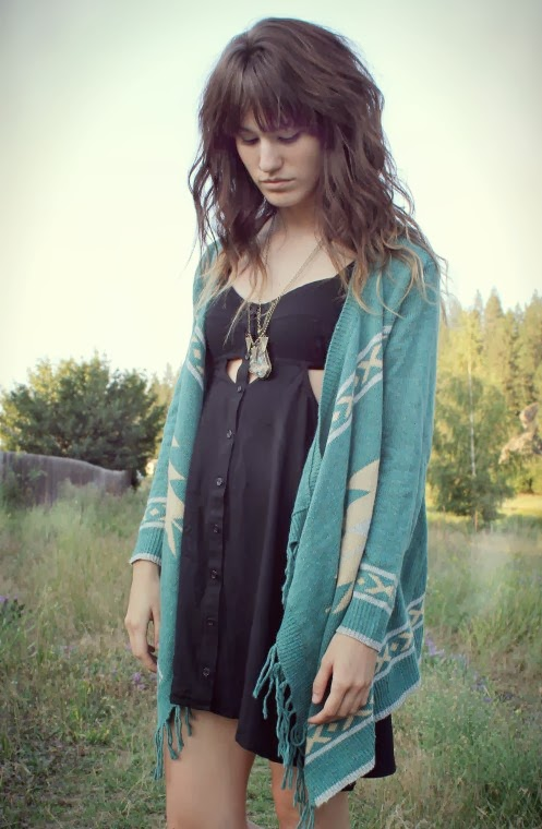 Blue cardigan and black blouse fashion for fall