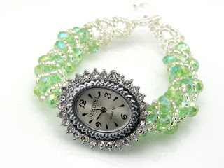 Peridot watch band handmade