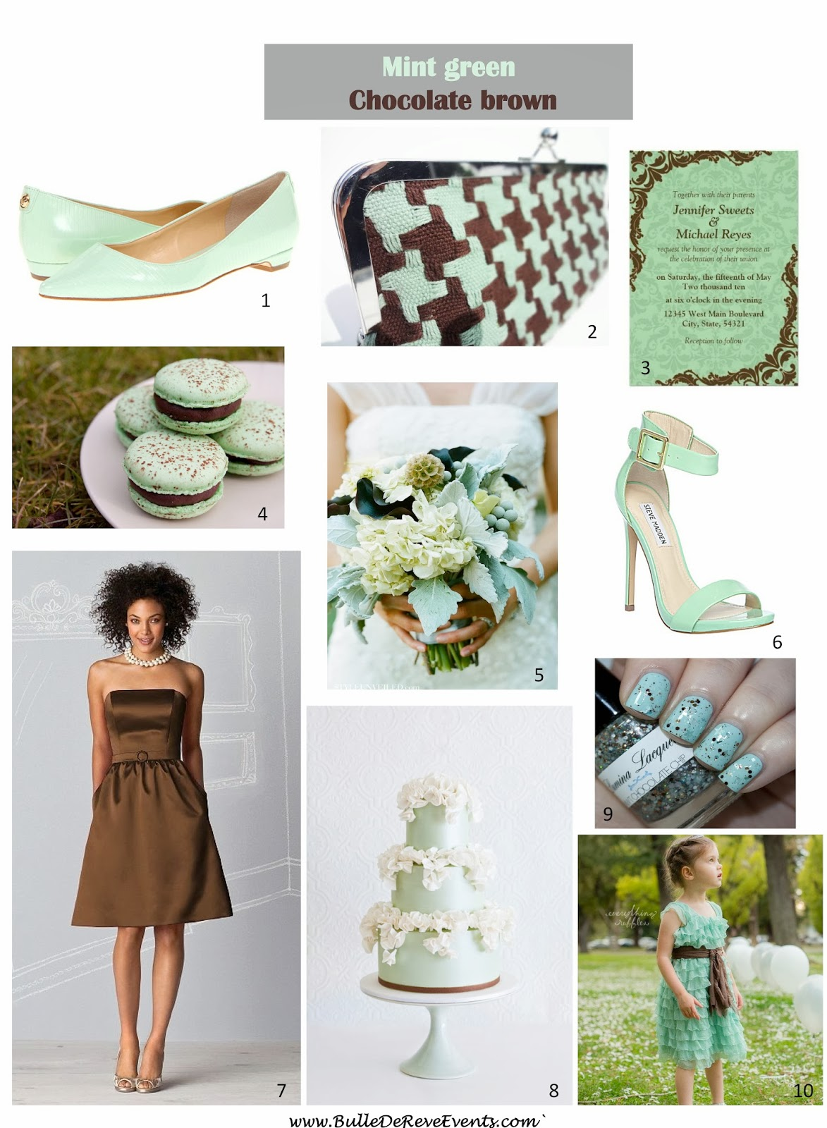 Mint Green Chocolate Brown Wedding Inspiration Board