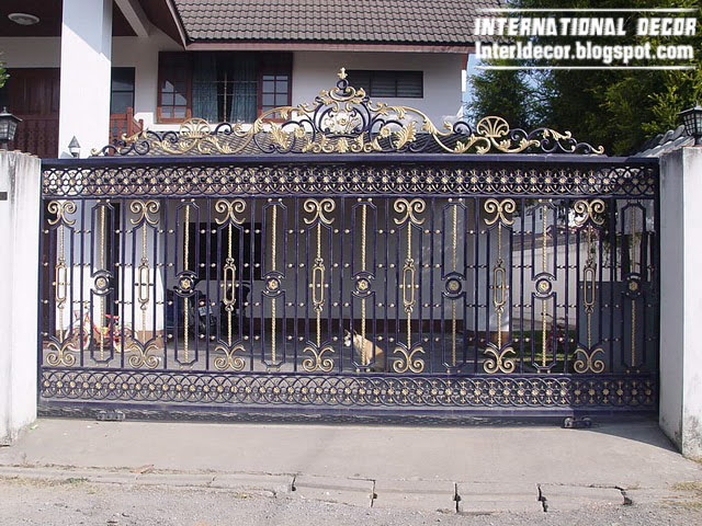 Modern iron gate designs glided black iron gate designs for Modern house gate designs