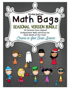 http://www.teacherspayteachers.com/Product/Math-Bags-for-Kindergarten-Seasonal-Bundle-1187633