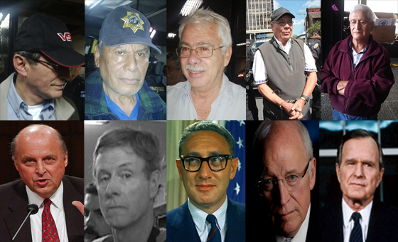 Top Row, From Left: Byron Diaz, Pablo Mérida, César Morales, Manuel Garcia, and Carlos  López - all recently arrested in Guatemala for human rights violations dating as far back as the 1970's and 80's, including mass murder and torture. Bottom Row, From Left: John Negroponte, James Steele, Henry Kissinger, Dick Cheney, George H. Bush - just a few of the Americans involved in human rights violations in Latin America (including Guatemala) and present-day depredations, and all of whom are walking around free with no fear of prosecution.—Ronald David Jackson