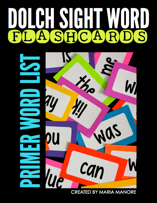 FREE printable dolch sight word flashcard labels
