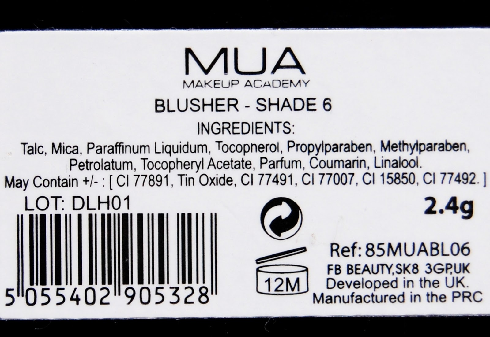 MUA Blusher Shade 6 ingredients