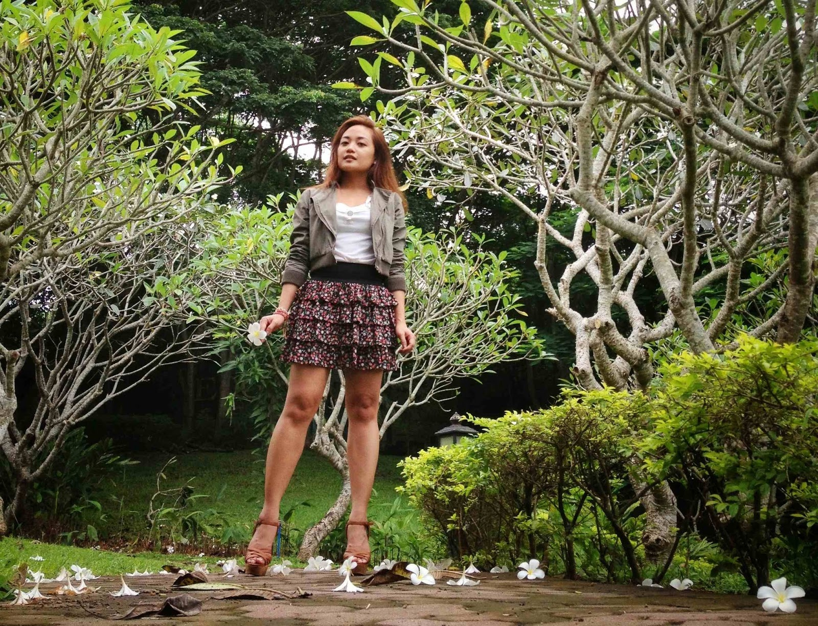 weekend getaway, south of manila, ruffled skirt, summer outfit, wedges, forever 21