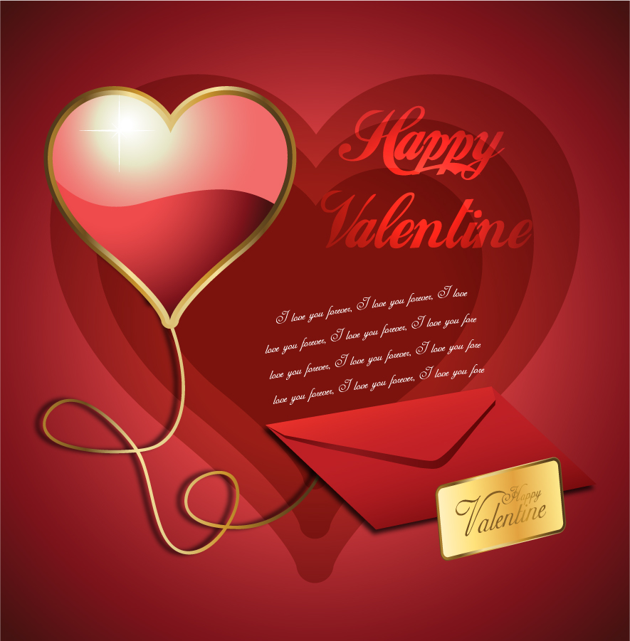 バレンタインデーのラブレター Valentine's Day heart-shaped love letters イラスト素材