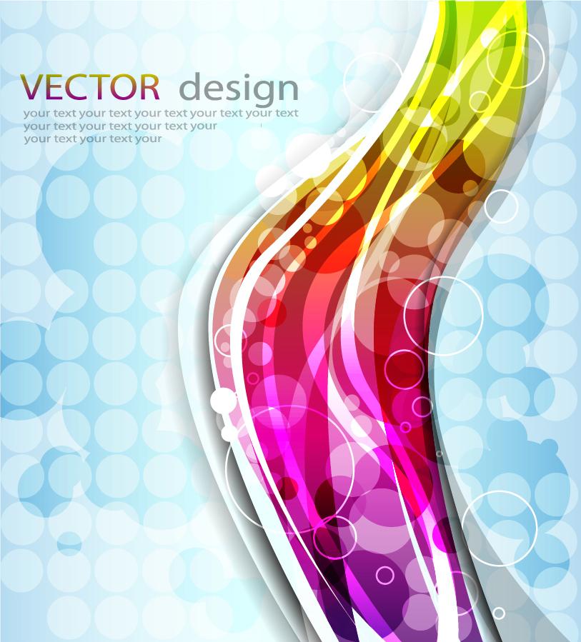 虹色の曲線を光のサークルが照らす背景 abstract colorful background イラスト素材