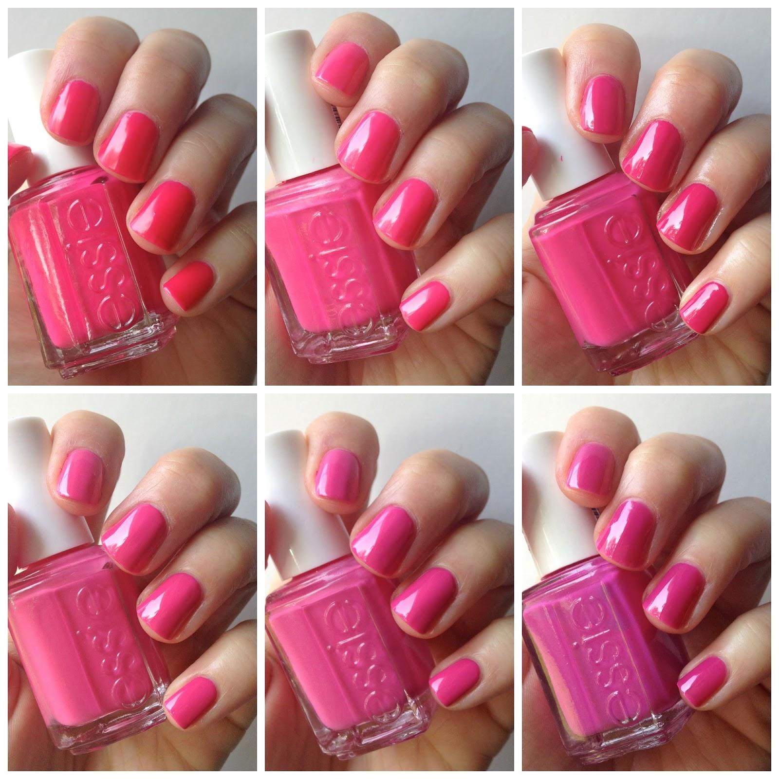 Essie Hot Pink Comparison : Lights, Bottle Service, Fiesta, Pansy ...